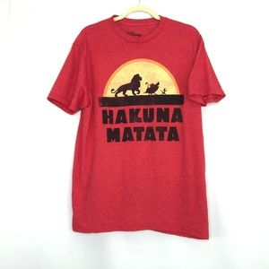 Disney Lion King Hakuna Matata Red T-Shirt Men's L